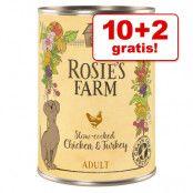 10 + 2 på köpet! Rosie's Farm 12 x 400 g  - Beef