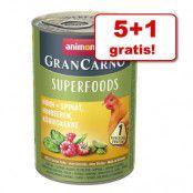 5 + 1 på köpet! 6 x 400 g Animonda GranCarno Adult Superfoods - Blandpack 3 sorter