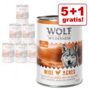 5 + 1 på köpet! 6 x 400 g Wolf of Wilderness våtfoder - Wild Hills - med anka