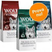 Blandat provpack: 3 x 1 kg Wolf of Wilderness Adult Regions - Canada, Scandinavia, Mediterranean