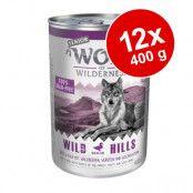 Ekonomipack: Wolf of Wilderness Senior 12 x 400 g - Wild Hills - Duck & Veal