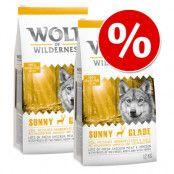 Ekonomipack: 2 x 12 kg Wolf of Wilderness hundmat - Junior - Green Fields