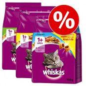 Blandpack: Whiskas 1+  3  x  3,8 kg - Kyckling, Tonfisk och Lamm