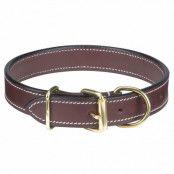 Flat Leather Brown - Hundhalsband