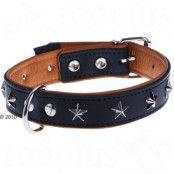 Heim Stars läderhalsband, svart/beige - Storlek 40: 30 - 37 cm halsomfång