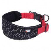 Rukka® Cube Soft halsband, rött/svart - Stl. M: 30-50 cm halsomfång, B 25 mm