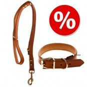 Heim Buffalo läderhalsband & koppel, konjak - Halsband storlek 55 + koppel 200 cm