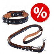 Heim Stars koppel + halsband i läder - Halsband storlek 40 + koppel 200 cm