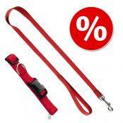 HUNTER Ecco Sport halsband + koppel, rött - Halsband storlek M + koppel 200 cm / 15 mm