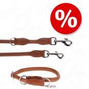 HUNTER Round & Soft set: koppel + halsband, konjak - Halsband storlek: max. 50 cm, Ø 10 mm