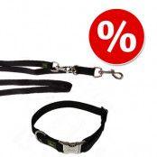 HUNTER set: Vario Basic Alu Strong Halsband + koppel, svart - Halsband stl. M + koppel 200 cm/20 mm