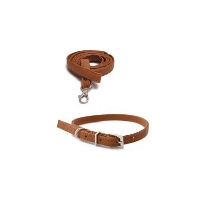 Original Basic Halsband + Koppel Brun