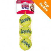 KONG Airdog Squeaker Ball tennisbollar med pipljud - Medium: Ø 6 cm, 3-pack
