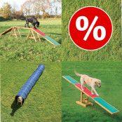 Set med 3 st Trixie Dog Activity Agility tillbehör till sparpris! - Balanshinder + gungbräda + tunnel