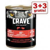 3 + 3 på köpet! 6 x 400 g Crave Adult våtfoder - Chicken & Turkey