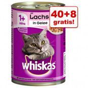 40 + 8 på köpet! 48 x 400 g Whiskas 1+ burkar - 1+ Nötkött & lever i sås