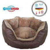 ThermoSwitch® Santorini Memory-Foam hundsäng brun/mocka - M: L 60 x B 50 x H 20 cm