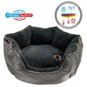 ThermoSwitch® Santorini Memory-Foam hundsäng silver/grå - M: L 60 x B 50 x H 20 cm