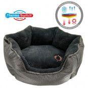 ThermoSwitch® Santorini Memory-Foam hundsäng silver/grå - S: L 45 x B 38 x H 20 cm