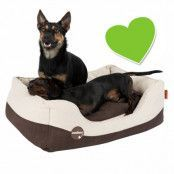 zoolove hundbädd med konstläder och fårullsimitation - L: L 100 x B 70 x H 28 cm