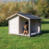 Trixie Natura Lodge med altan Stl. M/L: B 130 x T 100 x H 105 cm, grått (2 paket*)