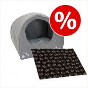 Set till sparpris: Hund-igloo + Vetbed® Isobed SL Paw hundfilt - Säng B 71 x D 54 x H 57 cm + filt L 75 x B 50 cm